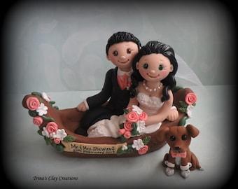 Wedding Cake Topper, Custom Cake Topper, Bride and Groom, Gondola, Boat, Polymer Clay, Wedding/Anniversary Keepsake