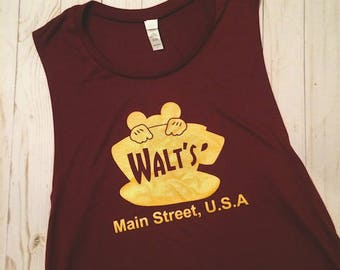 SALE Walt's Diner Gilmore Girls Inspired Luke's Diner Coffee Main Street USA Sleeveless Muscle Maroon Tank