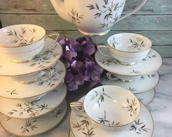 Open Stock Noritake Cho Cho 6936 San Teapot Teacups and Saucers plus Orphans Excellent Japan 1950s RARE