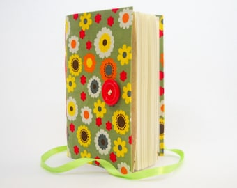 Colorful flowers Journal Notebook diary, writing journal with lined paper, Green Orange Yellow White Red flowers, teen gift, sister gift