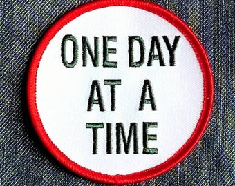 """Vintage AA Sobriety ''One Day At A Time"""" Embroidered Iron On Patch 3"""""""