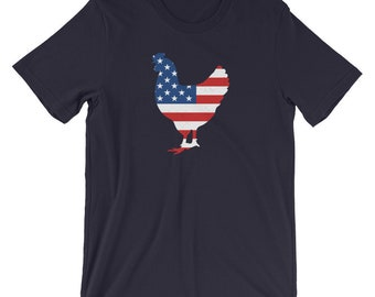 Distressed Patriotic Chicken American Flag T-shirt - chicken shirt, 4th of July shirt, Fourth of July shirt, rooster shirt, farmer shirt