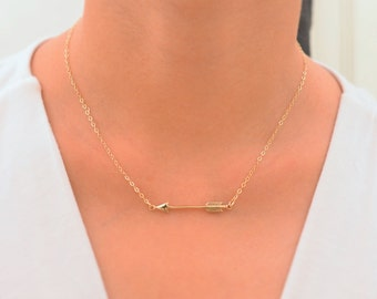 Arrow necklace. Sideway arrow necklace. Gold arrow necklace