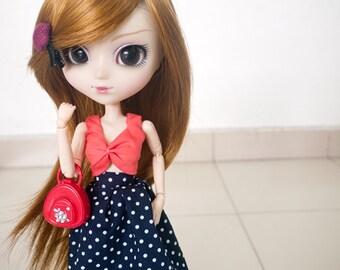 Crop top with polka dot skirt