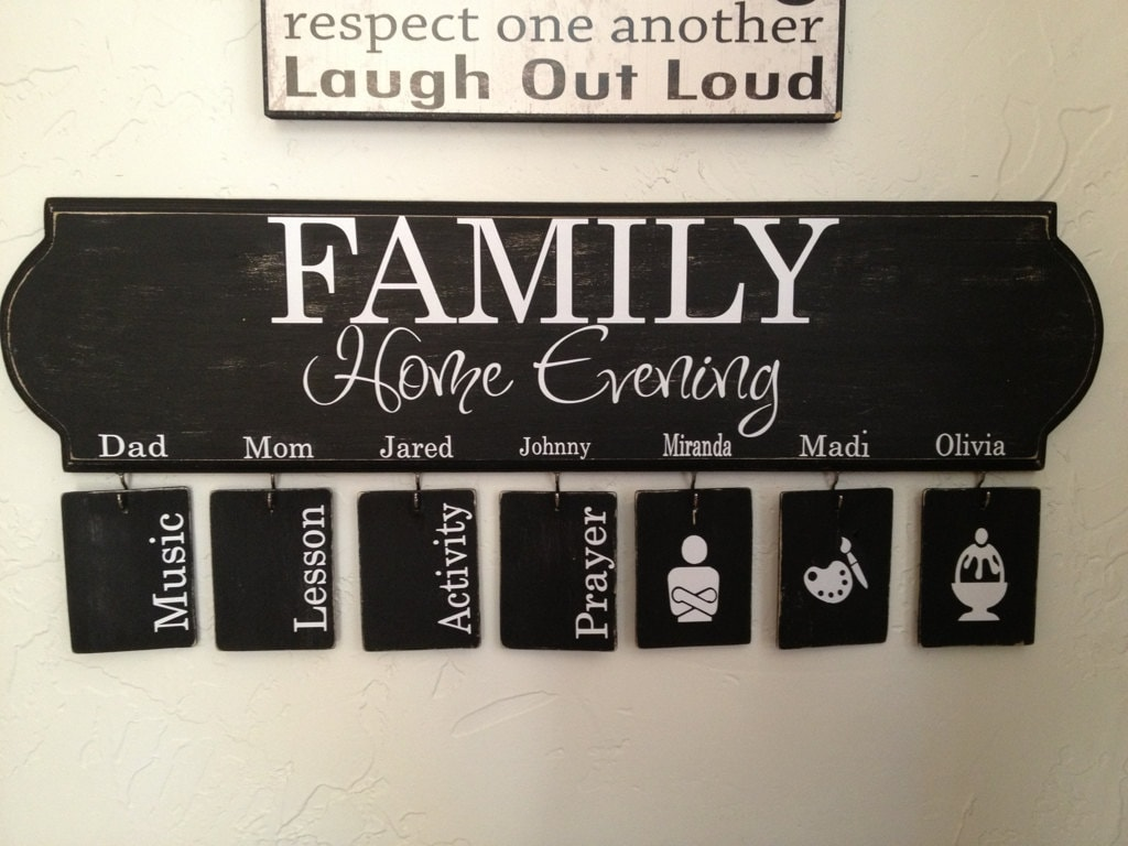 family home evening vinyl decal with assignments and