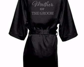 Bridal Party Satin Robes with Rhinestone Crystals, Bridesmaid Robes, Satin Bride Robe ,Rhinestone Bridal Party Robe, Mother of the Groom