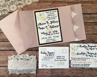 Blush unique pocketfold wedding invitation, handmade pink boho lace pocket invitation, rose gold printed invitation set, DIY wedding invite