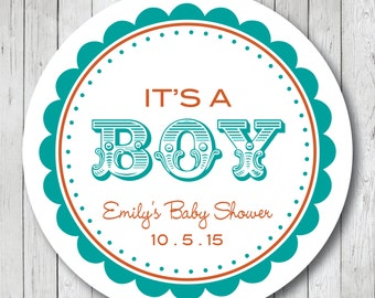 It's a Boy . Circus Theme Personalized Baby Shower Stickers, Labels or Tags