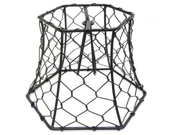 Wire lamp shade etsy chicken wire lampshade clip on small black hex wire lamp shade lighting supply chandelier industrial rustic keyboard keysfo Images