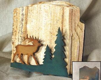 Natural Sandstone Coasters w/ Organic Patina Holder - Elk