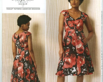 V1497 Vogue - Reese - Misses Lined Darted bodice Dress with pleated skirt - NEW Sewing pattern Sz. A5 6-8-10-12-14 and E5 14-16-18-20-22