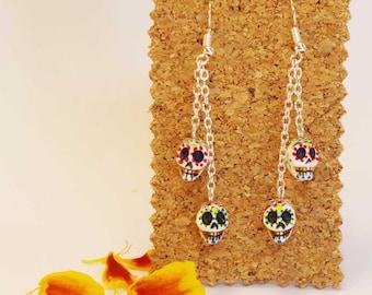 Earrings with Mexican sugar skulls. Sugar Skull Earings