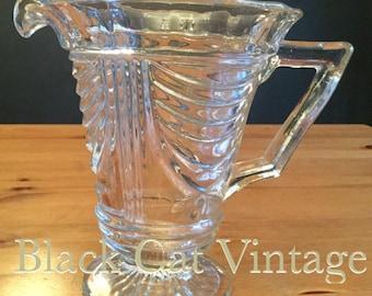 1930's Art Deco pressed clear Glass Water Jug vintage retro pitcher vase pat no 5220
