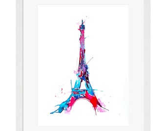 Eiffel Tower Wall Art Print, Paris illustration, Paris lover print, Abstract Art, Watercolor Travel Mementos, Parisian Nursery Wall Decor