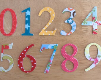 "2"" Shabby Chic Iron on Fabric Numbers - 5cm number appliques - made to order, choose your digits and fabrics, ships from UK"