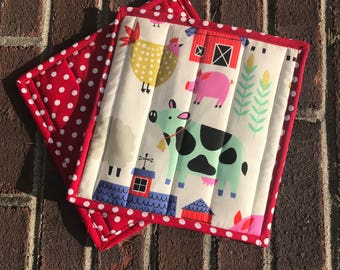 Farm/Barnyard Hot Pads, Pot Holders Set of 2