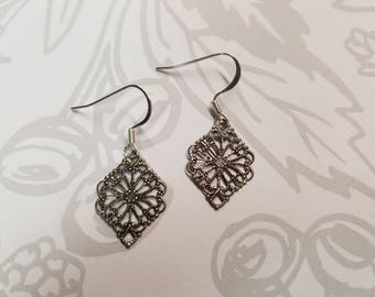 Small Antique Silver Filigree Earrings