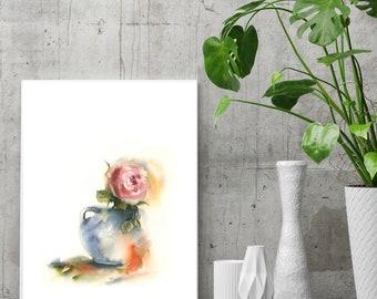 Rose fine art print, rose in a vase still life watercolor painting print, watercolor print, pink flower wall art print