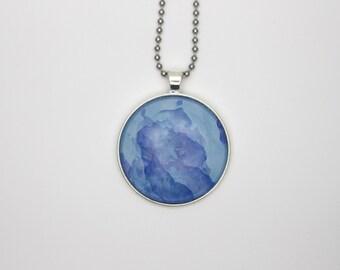 Mixed Blue watercolour glass tile necklace