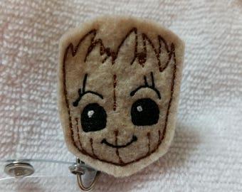 Groot ID Badge Holder - Baby Groot Felt Name Badge  - Groot Lanyard - Groot Retractable Badge Reel - Groot Stethoscope ID Tag - Guardians
