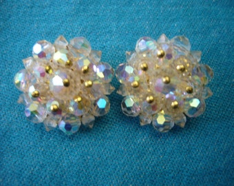 Vintage, Aurora Borealis Clip On Earrings.