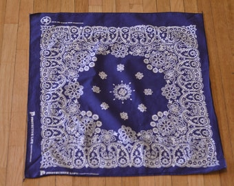 Vintage Bandana Scarf Navy Blue Indigo Paisley Floral All Cotton Fast Color Made in USA Cowboy Biker