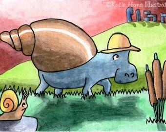 Hippo snail hill rocks funny wall art miniature art ATC Gift Art Trading Card Whimsical Original ART ACEO Watercolor - Katie Hone