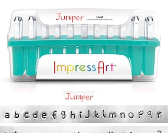 "JUNIPER - LOWERcase Handwriting font - Steel Letter Stamps - by ImpresssArt - 1/8"" (3MM) size - includes 7 design stamps and tutorial"