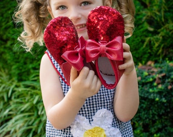 Ruby red slippers- Baby moccs- Toddler moccs- Baby shoes