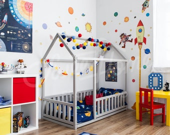 Toddler bed Twin size, Baby bed, Children bed, Montessori toy, wooden house, Nursery interior crib Toddler bedroom design Girl room Boy room