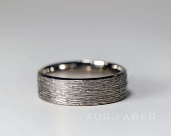 White gold ring. Hammered mens ring. Rough matte finish. Heavy duty for men. Gift for husband. Hammered finish ring. 7mm wide.