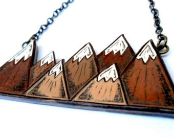 Brown and White Mountain Necklace,  Mountain Range Pendant, Graduation Gift