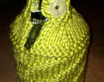 Bright Green Beer Growler Knitted Cozy/Growler Cover