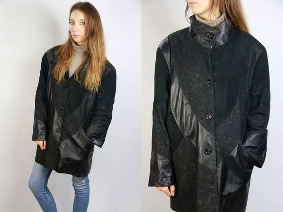 Leather Coat / Vintage Leather Coat / Black Leather Coat / Leather Jacket Vintage / Jacket Leather / Long Leather Jacket / Black Jacket