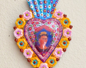 "Stunning 7.5""  Day of the Dead Frida Kahlo Painted Large Milagro- Perfect for your Loved One"