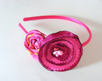 Pink Blossom Rosette Satin and Prong Set Gem Headband