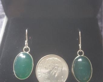 Argentium silver green agate earrings
