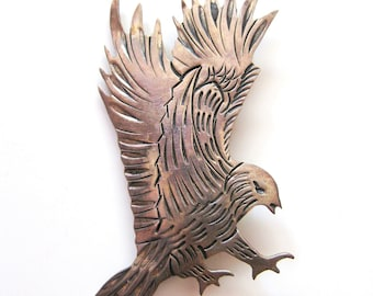 Sterling Silver Flying Eagle Brooch, Embossed Silver Pin, Native American, Signed