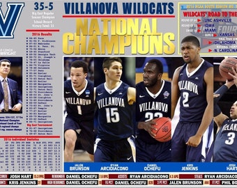 Villanova Wildcats Win 2016 NCAA Basketball Championship Commemorative Poster