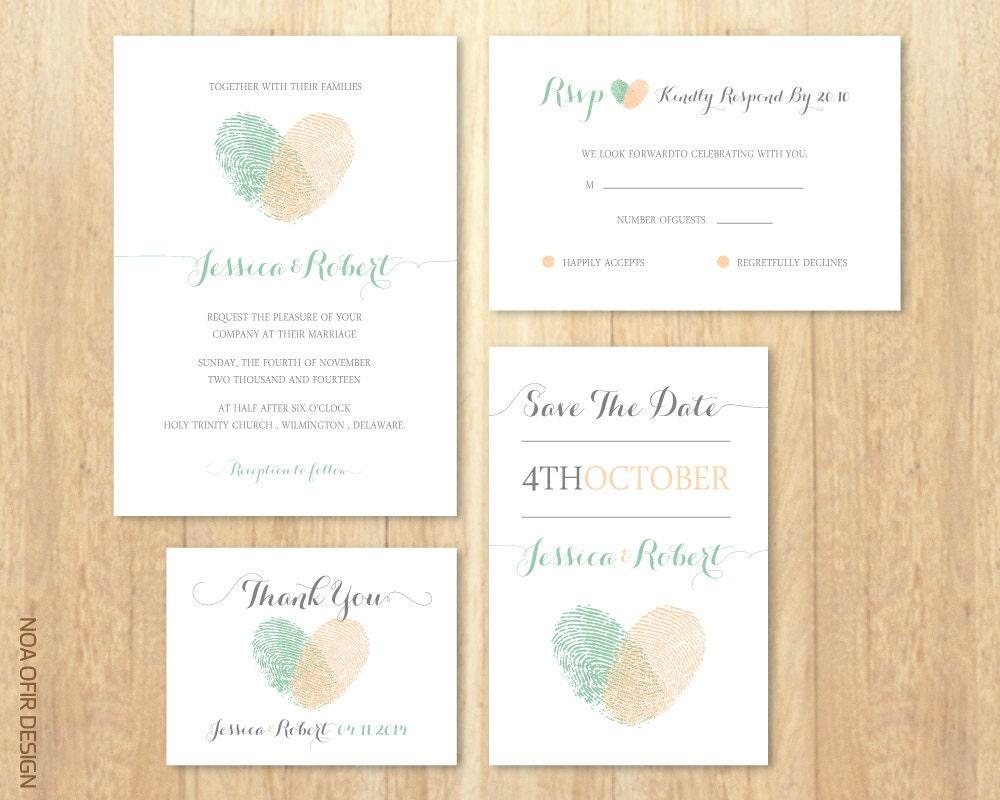 Wedding Invitation Set Fingerprints Peach and Green