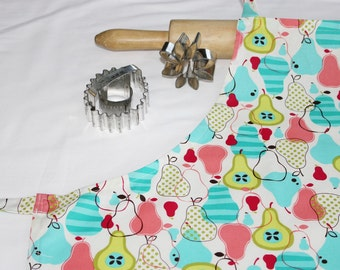 Retro Fruit Coral and Turquoise Pears Adult Apron