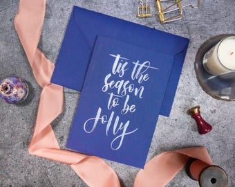 Calligraphy Christmas Card - Navy Blue card with Silver Ink