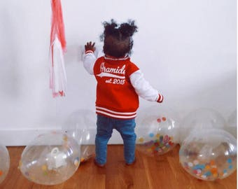 Personalized Birthday Infant Toddler Baby Varsity Jacket, Custom Baby Girl Boy Varsity Jacket, Customized Toddler Birthday Jacket