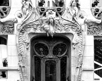 Door Photo, Travel Gift, Black and White Paris Print, Art Nouveau Door, Vertical Print