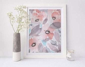 Printable abstract art, watercolour wall art, floral print, red watercolor print, watercolor art, abstract art, abstract watercolor art