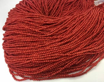 "16"" Red Coral 3mm 1 Strand Round Spacer Gemstone Loose Beads Jewelry Making Supplies"