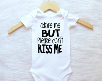 ALL SIZES Customizable Colors adore me but don't kiss me mom advice funny baby donut shirt boys babies newborn