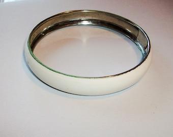 White Enameled Bangle Bracelet circa 1970  Free Shipping in the USA