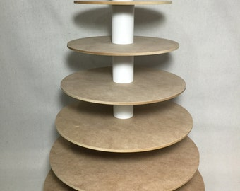 7 Tier Round Unfinished Cupcake Stand.  Holds up to 160 Cupcakes