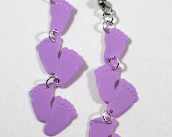 Footprint Earrings It's a Girl Baby Shower Earrings Pastel Purple Baby Footprint Dangles Plastic Sequin Jewelry